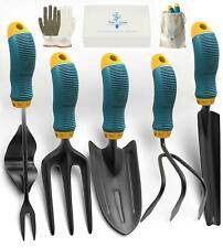 Gardening Tools Set from Alloy Steel - Heavy Duty Garden Tool Set with Rubber