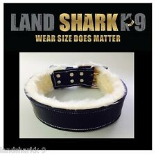 XX-Large Black Leather Dog Collar with Light Caramel Fur Padded Inner Lining