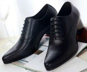 Men's Business Cuban High Heels Pointy Toe Leather Fashion Dress Shoes Pumps