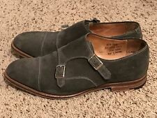 Alfred Sargent Double Monk Strap Mens Suede Shoes - Grey - US 10