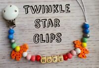 Personalised Wooden Dummy Clip Giraffe Rainbow Baby Pacifier Boy Or Girl Gift