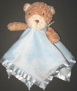 Family Dollar Store Brown Bear Blue Security Blanket Rattle Plush Baby Lovey Toy