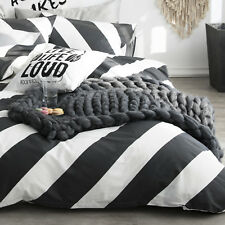 100% Cotton Black White Diagonal Stripe Duvet Cover Set Queen Bedding Set