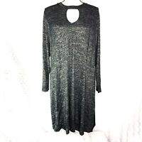 Lane Bryant Womens Plus sz 18/20 Black Heathered Long Sleeve Keyhold Tunic Dress