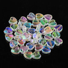 200pcs Heart Shape Acrylic AB color Spacer Beads for Barcelet/Necklace DIY 8x4mm