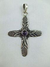 Vintage Amethyst Sterling Silver Cross Pendant 950? Silver Signed 232B