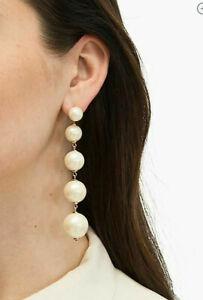 NWT Kate Spade Girls In Pearls Linear Statement Glass Pearl Drop Earrings $99