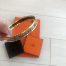 Hermes Enamel Cloisonne Bangle Gold Color Inner Diameter: 2.4 in. Authentic
