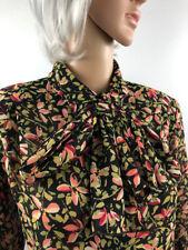 VTG Pussy Bow Blouse 12-14 Fella Hamilton 90s does 40s retro Floral print
