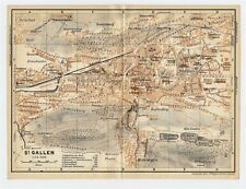 1930 ORIGINAL VINTAGE CITY MAP OF ST. GALLEN / SWITZERLAND