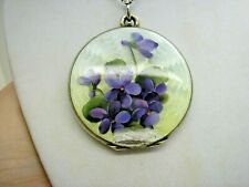 "Antique Large Silver Gilt Flower Enamel Opening Locket & 17"" Silver Chain"