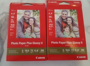 "New CANON Photo Paper Plus Glossy II 4 x 6"" ~ 100 Sheets ~ Inkjet ~ High Gloss"