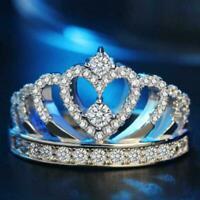 Romantische Prinzessin Krone Herz Braut Hochzeit Ring 925 Silber Schmuck Ge O5R1