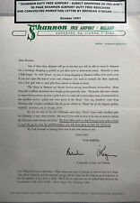 Ireland Shannon Free Airport 1957 Marketing Letter By Brendan Oregan
