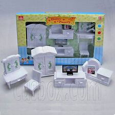 Living Room TV Full Set for Sylvanian Families Furryville Calico Critters Doll