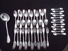 Christofle : ménagère 37 couverts en métal argenté modèle coquille Vendôme N2