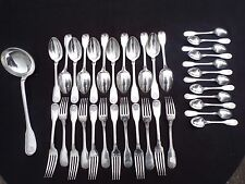 Christofle : cubertería 37 cubiertos metal chapado en plata modelo conchas