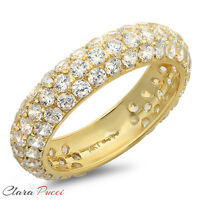 2.55 ct pave set Wedding Bridal Engagement Band Ring Solid 14kt Yellow Gold