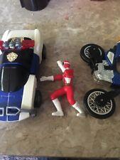 power rangers robo racer 1996, blue zeo jet cycle, red ranger mini figure
