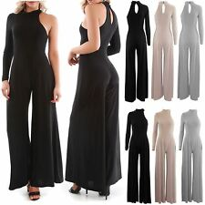Womens Ladies One Shoulder Turtle Neck Flared Leg Palazzo All In One Jumpsuit