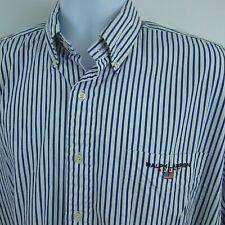 Ralph Lauren Sport Mens Button Front Dress Shirt Sz L Blue White Striped Cotton