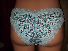 VICTORIA'S SECRET ONE SIZE CHEEKY PANTY WITH POUCH S M L NWT BABY BLUE LACE BOW