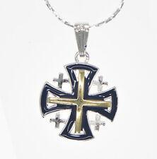 Gold&Silver + Silver Necklace Jerusalem Cross Silver Pendant with