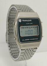 Vintage 1980s Trafalgar Alarm Chronograph Ultra-Slim Quartz LCD Digital Watch