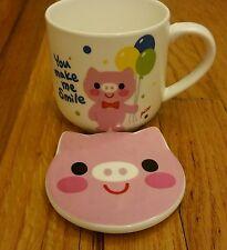 Pig piggy ceramic tea cup / coffee mug with lid Ships Next Day
