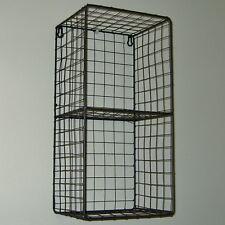 Metal Wire Locker Room 2 Shelf Storage Unit Rack Cage Vintage Industrial Style