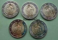 Deutschland 5 x 2 Euro Gedenkmünzen Euromünzen 2015 Deutsche Einheit A,D,F,G,J