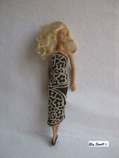 Embroidered black  dress for Barbie,Fashion Royalty,Poppy Parker