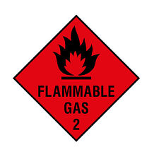 Flammable Gas 2 Laminated Warning Sticker 100mm x 100mm Caravan Car Van Lorry