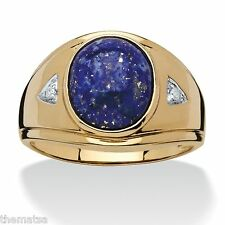 MENS LAPIS 3.30 TCW 18K GOLD OVER STERLING SILVER RING SIZE 8 9 10 11 12 13