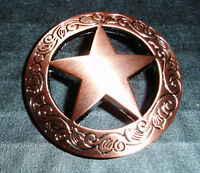 """Western Equestrian Tack Brushed Copper Engraved Star Set of 6 1 1/2"""" Concho's"""