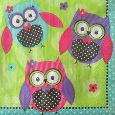 BRIGHT POLKA DOT OWL LUNCH NAPKINS (20) ~ Birthday Party Supplies Dinner Paper