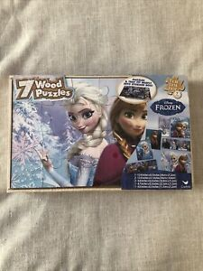 New Disney Frozen 7  Wood Puzzle Pack  SEALED With Wood Storage Box