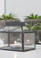 Ib Laursen Laterne mit Teelichteinsatz, Windlicht Teelicht Metall Zink Grau