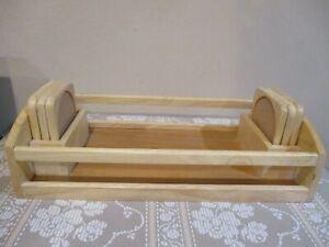 "Winsome Wood Serving Tray w/Handles/Coasters 14 2/8"" L x 8"" W x 3 5/8"" H (7pcs)"