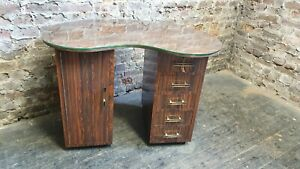 Funky Retro Formica Melamine Covered Kidney Shape Dressing Table Thick Glass Top