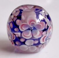 10pcs exquisite handmade Lampwork glass beads blue  flower 14mm