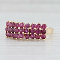 1.30ctw Ruby Ring 14k Yellow Gold Size 6.25 Tiered Cluster July Birthstone