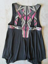 WOMENS EXPRESS SEQUINED BACK BLACK SLEEVELESS FLOWY KNIT TOP TANK XSMALL XS NWT