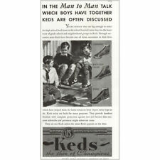1935 Keds Shoes: Man to Man Talk Which Boys Have Together Vintage Print Ad