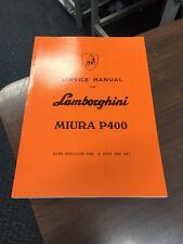 Lamborghini Miura P400 S SV Workshop Manual Instruction Service Technical