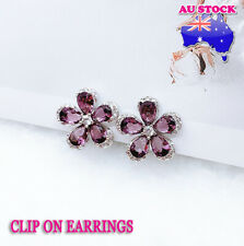Wholesale 18K White Gold Plated Purple Petals Crystal Flower Clip On Earrings
