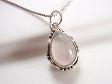 Small Rose Quartz Teardrop with Rope Style Accents 925 Sterling Silver Pendant