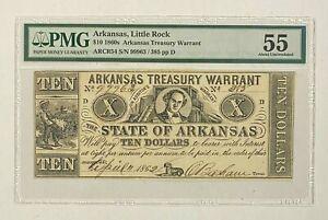 1860s Arkansas, Little Rock $10 Treasury Warrant Obsolete Currency PMG 55
