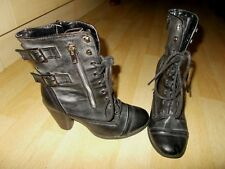 Ladies REBEL HEART Charcoal Faux Leather Lace Up Biker Style Boots - Size UK 5