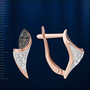 Russian Rose gold 14k/ 585 black white CZ earrings calla flower  NWT stunning